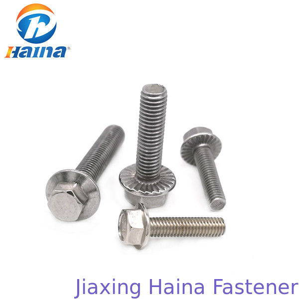 Plain Color DIN6921 Stainless Steel Bolts , Hex Flange Bolt With 50mm Length